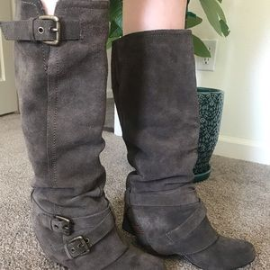 Shoes - Leather slouch boots